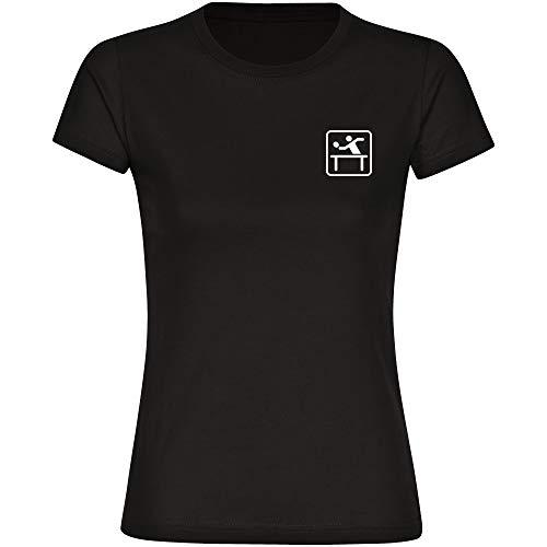 T-shirt tafeltennis tafeltennisspeler pictogram op de borst zwart dames maat S tot 2XL - grappig grappig spreuken party funshirt