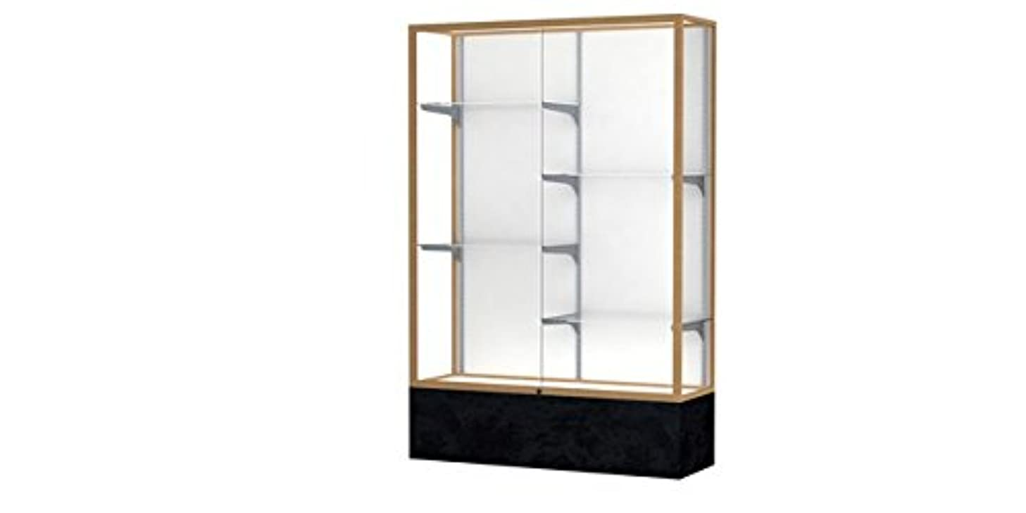 Monarch Series Lighted Floor Display Case Frame Color: Champagne Gold, Base Color: Black Marble, Case Backing: White Laminate