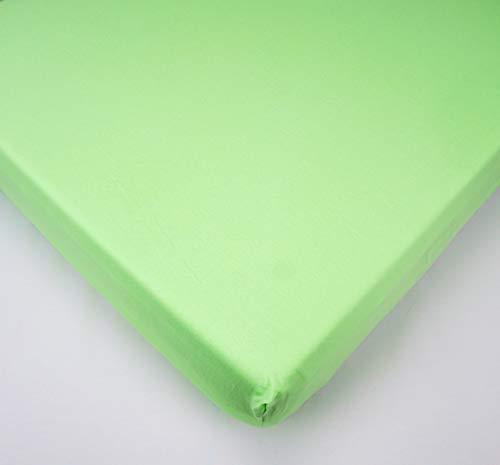 Jersey Verde Sábana bajera 100% algodón para colchón de cuna de bebé de 90 x 40 cm