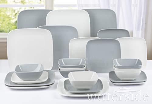 Waterside Fine China - Juego de cena cuadrado (24 piezas), color blanco y gris