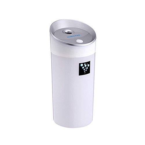 QIHANGCHEPIN Humidificador Difuso de Aceite Esencial de Coche 300 ML USB 5 V 4 Colores Aroma Bruma Ultrasónica Hacer Difusor de Aceite Aromaterapia para Purificador de coche (Blanco Azul)