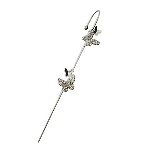 Hunpta - Pendientes de gancho para mujer, diseño de mariposa con diamantes de imitación