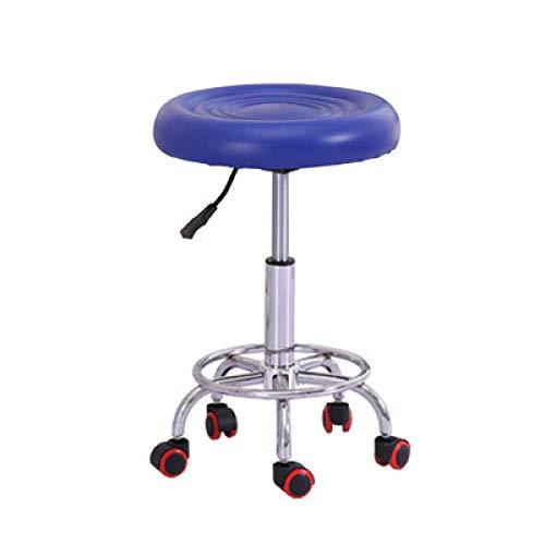 DWXN Barstuhl auf Rolle,Drehhocker Hã¶Henverstellbar mit Blau Kunstleder Bezogener Sitz,Sitzhöhe ca. 45-57 cm,bis 160kg,Barhocker Sitzhöhe für Tattoo Friseur