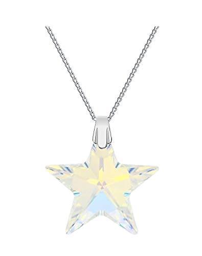 Crystals & Stones *TOP* *STERN* 28 mm *Crystal AB* mit Silberkette aus 925 Silber mit original Swarovski® Elements Anhänger,Halskette mit Schmucketui
