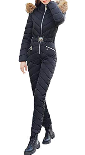 SOWTKSL Women's Winter Long Sleeve Thicken Slim Fit Down Puffer Jumpsuit One Piece Set Black S