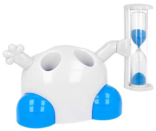 Lantelme Kinder Zahnbürstenhalter weiß blau mit Sanduhr Zahnpflege Kleinkind Zahnbürste Zahnpasta Halter 7904