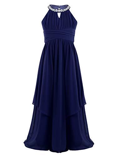 iEFiEL Mädchen Kleider Festlich Neckholder Strass Prinzessin Kleid Blumenmädchenkleid mit 2 Lage Rock Hochzeit Partykleid lang Faltenrock Gr. 116-176 (152, Marineblau)