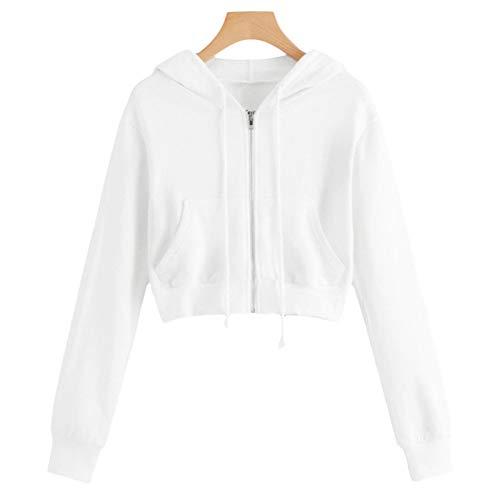 AKlamater KKSH Women Girls Hoodie Short Sweatshirt Sports Crop Top Zip Up Casual Blouse Jacket(S White)