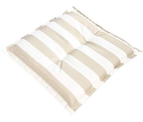 Dehner Sitzkissen Evi, ca. 50 x 50 x 6 cm, Polyester, beige/weiß