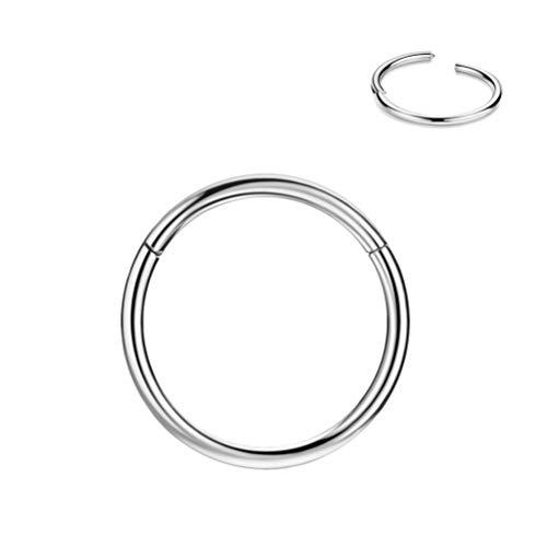 FANSING 8mm Septum Ring Septum Jewelry Seamless Septum Clicker Nose Rings 18 Gauge Nose Ring Hoop 18g Cartilage Earring Lip Rings Silver Nose Hoop Surgical Steel Helix Earrings Nose Piercing Jewelry