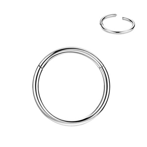 8mm Septum Ring Silver Nose Rings Hoop Nose Ring 20 Gauge Nose Hoop Helix Earrings Daith Earrings Tragus Earrings Septum Clicker Lip Rings 20g Cartilage Earring Nose Piercing Jewelry Surgical Steel