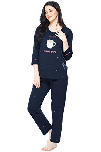 ZEYO Women's Cotton Dot Printed Navy Blue Night Suit Set of Top & Pyjama 5281
