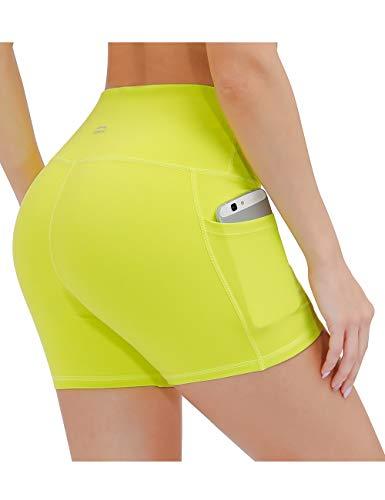 ALONG FIT Damen Leggings Kurze Sporthose mit Taschen Blickdichte Yogahose Hohe Taille Laufshorts Highwaist für Fitness Sport Fluoreszierendes Gelb S