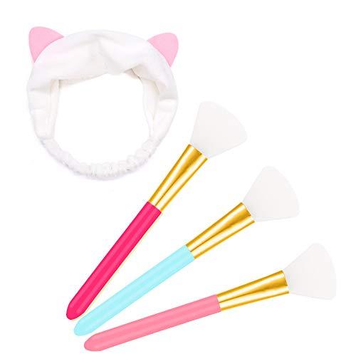 adakel 3 Stück Silikon Gesichtsmaske Pinsel Kosmetik Pinsel und 1 Stück Haarbänder Mit Katze Ohr Gesicht Waschen Make up