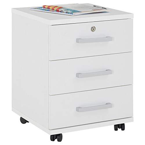 CARO-Möbel Rollcontainer Bürocontainer Büroschrank Vancouver, in weiß, abschließbar mit 3 Schubladen, 44 x 58 x 45 cm
