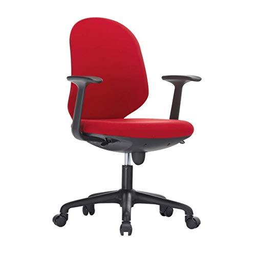 JIEER-C ergonomische stoel ergonomische bureaustoel in hoogte verstelbare vrijetijdsdraaistoelen nylon voeten bureaustoel voor thuis vaste armleuning - rood