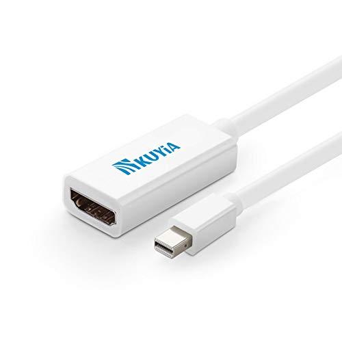 KUYIA Thunderbolt Mini DisplayPort DP naar HDMI Converter Adapter Kabel Audio Video HDTV Kabel voor Apple Macbook Pro 13 15 17 inch, Macbook Air, iMac, Mac Mini, Microsoft Surface Pro / Pro 2/3 Pro, Lenovo Thinkpad X1 etc 15CM Kleur: wit