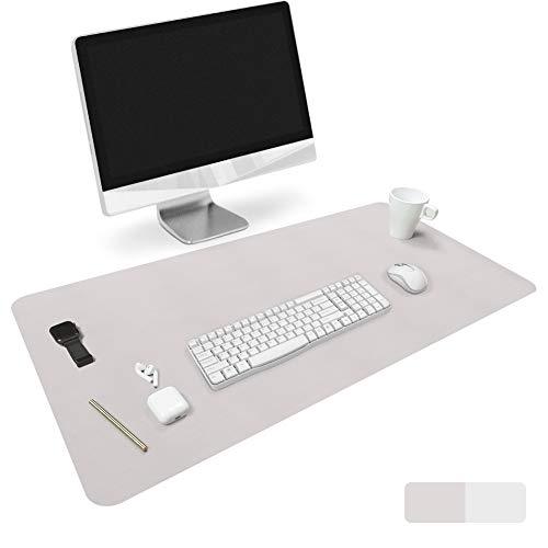 Homecas - Alfombrilla de ratón de piel sintética extendida para oficina y hogar, 35 x 18 x 0,08 pulgadas, delgada, resistente al agua, de doble cara, color gris y plateado
