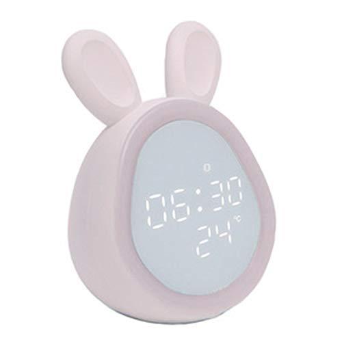 Orejas De Conejo Reloj Despertador Digital, Led Pantalla Reloj Alarma Inteligente Con Temperatura, Puerto De Carga Usbfunción Snooze, Tres Juegos De Despertadores