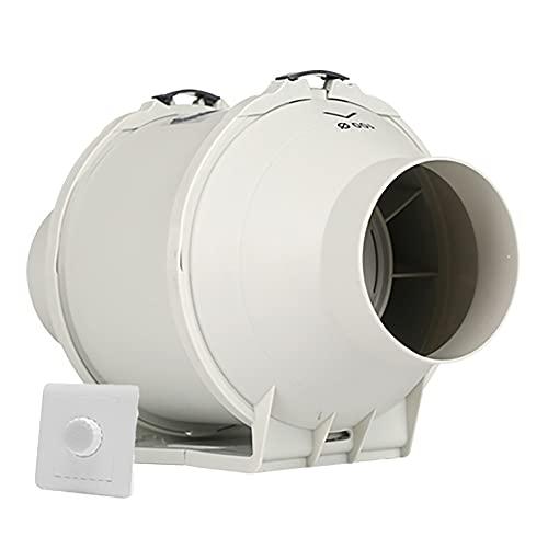 KaiLangDe 100mm 4' Extractor De Aire En Línea Ventilador De Conducto Ventilador De Baño Silencioso para Dormitorio Fábrica Taller Invernadero con Interruptor De Control De Velocidad Continuo