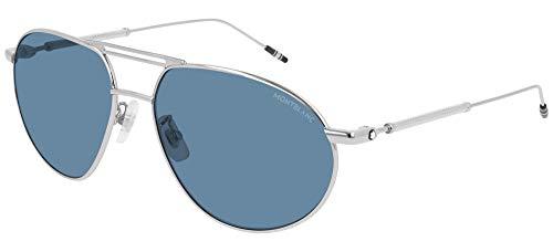 Montblanc gafas de sol MB0110S 004 azul de Plata del tamaño de 61 mm de Hombre
