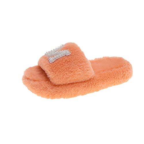 URIBAKY - Zapatillas con letras de estrás para mujer, de algodón, con apertura en casa, de felpa, antideslizantes, para interior y exterior, naranja, 42 EU
