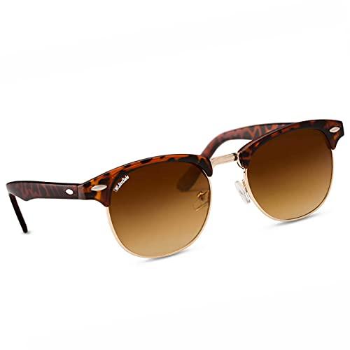 JD Jim Dale Browline Club Vintage Retro UV400 - Gafas de sol para hombre y mujer marrón Talla única