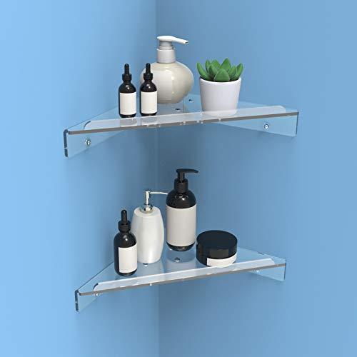 Crostice Bathroom Corner Shelf, Wall Mount Acrylic Shower Shelf, Kitchen Storage Corner Shelves for 90° Right Angle Corner (2 Packs, 9 Inches)