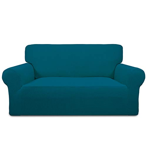 PureFit Stretch Loveseat Sofa Slipcover – Spandex Jacquard Non Slip Soft Couch Sofa Cover, Washable Furniture Protector with Non Skid Foam and Elastic Bottom for Kids (Loveseat, Peacock Blue)
