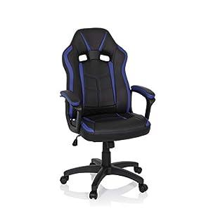 hjh OFFICE 722506 silla gaming STORM piel sintética negro / azul silla giratoria inclinable acolchada