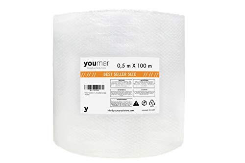 Youmar Solutions - Rollo De Plástico De Burbujas (0,5 Metro Ancho 100 Metros largo) (0,5x100M)