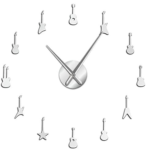 J-Clock Reloj Pared Grande Instrumento Guitarra Moderno DIY 3D Espejo Adhesivo Metal, Relojes Grandes silenciosos Decoraciones Escolares Oficina en casa