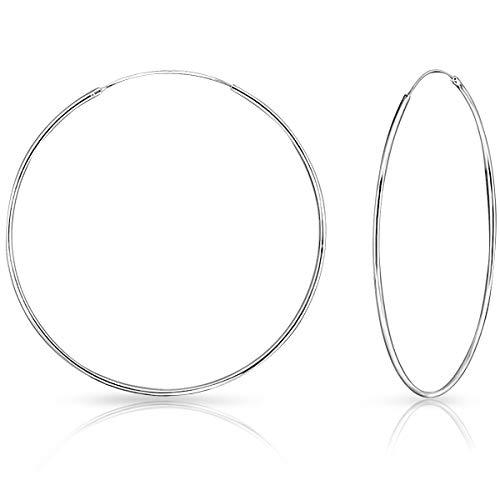 DTPsilver - Damen - Groß Creolen - Ohrringe 925 Sterling Silber - Dicke 1.2 mm - Durchmesser 80 mm…