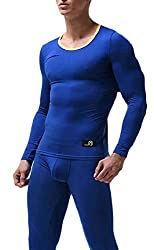 Gocgt Mens Simple Thermal Underwear Set Base Layer Top and Bottom