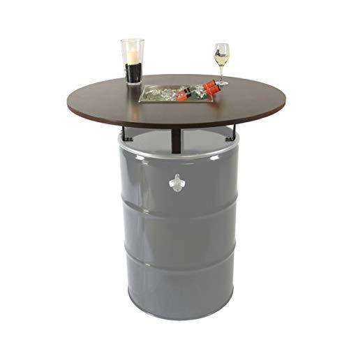Rogge´s RelaxGrill Stehtisch mit Getränkekühler - Bausatz für 210L-Ölfass (Fass Nicht enthalten), runde Holz-Tischplatte d = 100 cm mit 4 verzinkten Stahlhalterungen