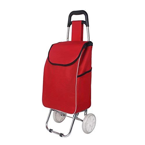 NYDZDM Carrito de la compra de escalada pequeño carro plegable carro carro de coche conveniente para el hogar pequeño remolque (color: rojo, tamaño: B)