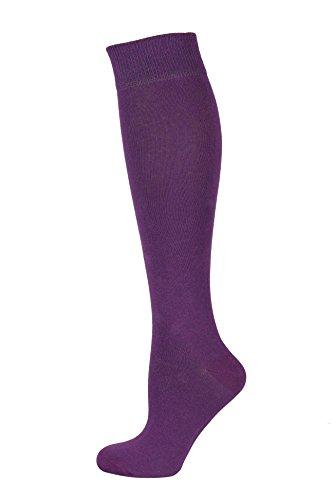 Mysocks® Unisex lange Kniestrümpfe aus besonders feiner, gekämmter Baumwolle, Violett, MKP005p