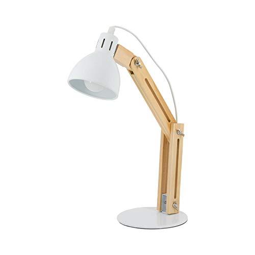 Lámpara Flexo Led Escritorio Orientable de Madera y Color Blanco | 7hSevenOn | Compatible con Bombillas E14 | Lámpara Sobremesa de Estudio o Trabajo | Lámpara de Lectura | Certificación CE y Rohs