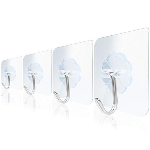BIFY 14 Stück Transparente Haken Selbstklebende Klebehaken Wasserfeste Mehrzweckhaken für die Wand und Dekoration von Küchen und Badezimmern, langlebig und leistungsstark
