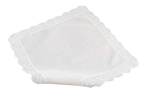 coolkaufen Häkeltaschentuch, handgearbeitet und handrolliert mit breitem weissen Rand