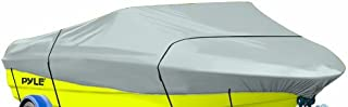 Pyle Protective Storage Boat Cover - Waterproof,  Mildew and Weather Resistant with UV Sun Damage Protection Marine Grade Canvas for 17-19'L Beam Width to 120'V-Hull Runabouts and Outboards - PCVTB223