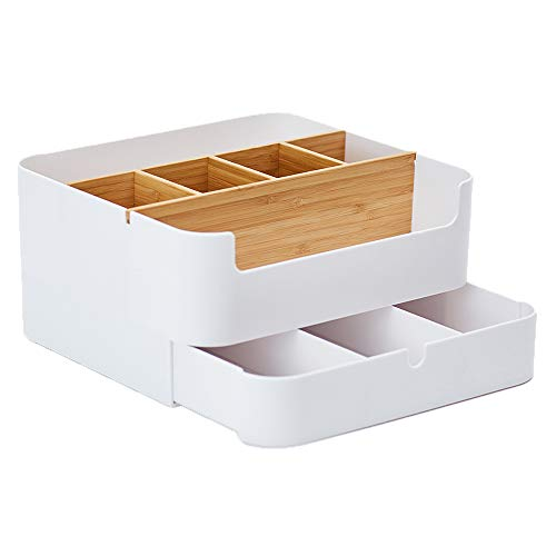 ZEN'S BAMBOO Makeup Organizer Drawer Large Size Multipurpose White Plastic Office Storage Box(6 Cell)