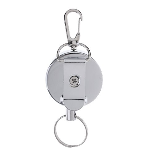 Jili Online Retractable Key Chain Badge Reel Carabiner Recoil Holder Ski Pass ID Card Lanyard - Silver