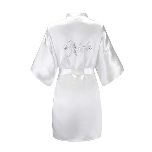 EPLAZA Women's One Size Silver Rhinestones Bride Bridesmaid Short Satin Robes for Wedding Party Getting Ready (White, Bride)