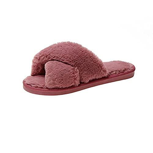 xinghui Cómodas Suave Antideslizante Zapatillas,Zapatillas de algodón casero Zapatillas de Pareja Peluda-Rosa roja_36-37