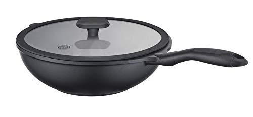 Masterchef leggero antiaderente in ghisa di alluminio senza PFOA pentole wok con coperchio in vetro, 28cm