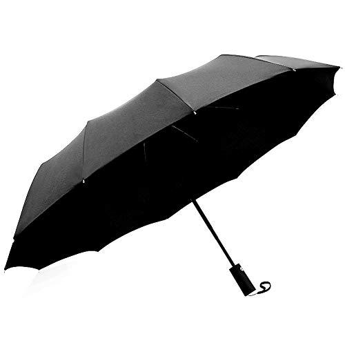 Winddichter, wasserdichter Regenschirm mit 12 Rippen, Automatischer tragbarer, kompakter Regenschirm zum Öffnen und Schließen, Durchmesser 106 cm (Color : Piano Black)