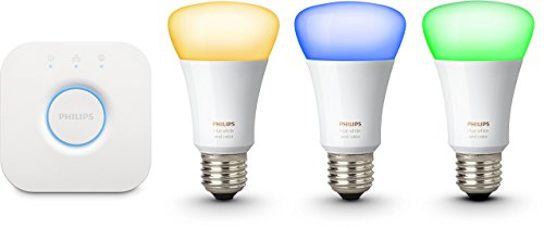 Philips Hue White And Color Starter Kit con 3 Lampadine E27, 10 W + Bridge Hue per Controllo Sistema