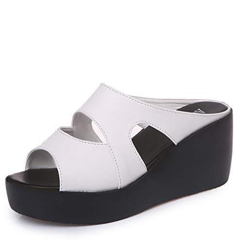 ROVNKD - Zapatos de Mujer de Nueva Manera para Verano, Plataforma con Forma de cuña, Informales, para Tiempo Libre, para Mujer, Tallas 35, 36, 37, 38, 39, 40, 41 Blanco 39