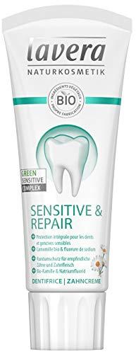 lavera Dentifrice Sensitive/Repaire Camomille bio & fluorure de sodium Vegan Cosmétiques naturels Ingrédients végétaux bio 100% naturel 75ml
